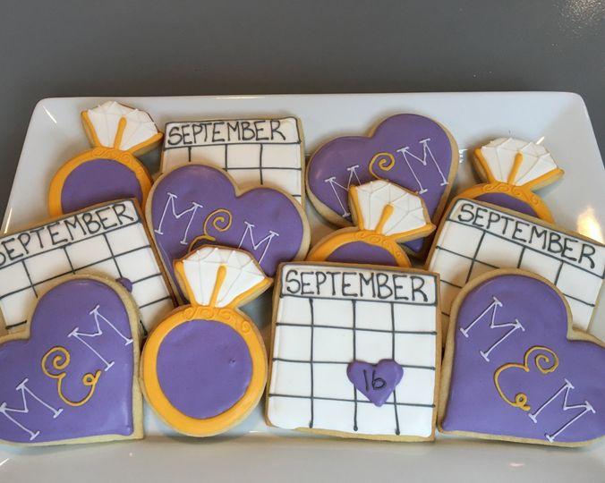 Engagement party cookie favors.