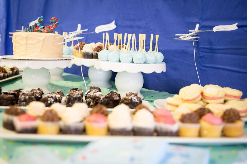 """Dessert buffet featuring 6"""" vintage wave cake. Buffet included mini cupcakes, cookie sandwiches,..."""