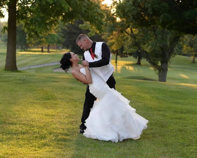 Outdoor wedding on golf course