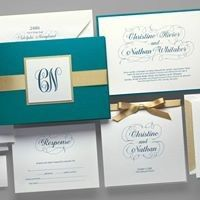 Teal and gold invitation