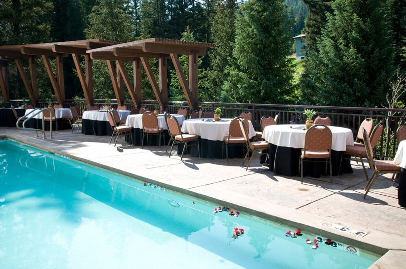 Afternoon Reception on our beautiful Pool Deck that faces the Gore Creek and Vail Mountain.