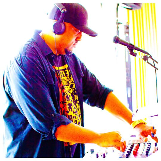 The dj playing
