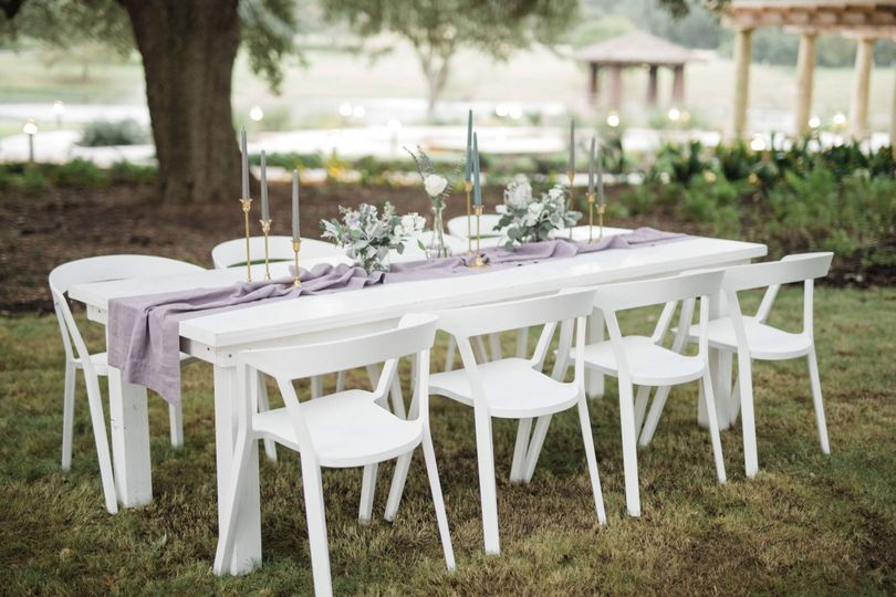 White farm table