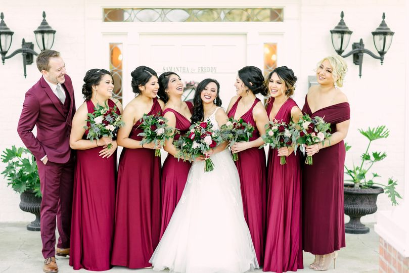 Bride and her attendants