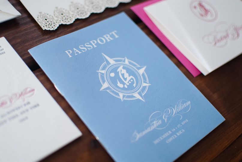 Samantha + William invited their guests to their destination Costa Rica wedding with an elaborate,...