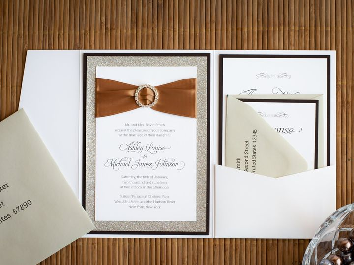 Tmx Brown Buckle Crystal Gray Invitation Suites Pocket Rhinestone Rsvp Satin Ribbon Sparkle 51 1047785 Sunnyvale, CA wedding invitation