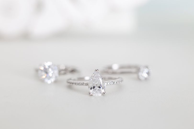 Three white gold rings
