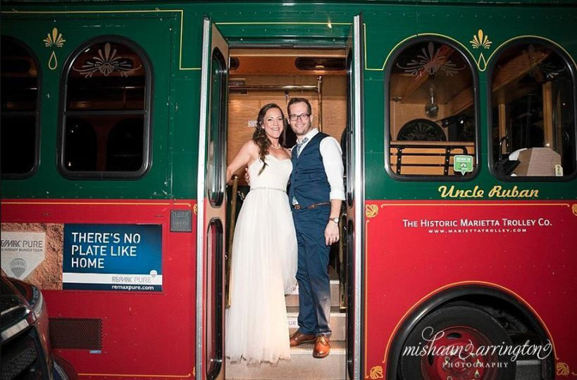 Newlyweds on the trolley