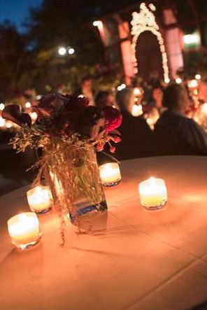 Candle lights and floral centerpiece