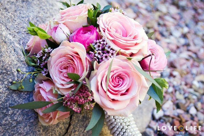 pink wedding bouquet peoria