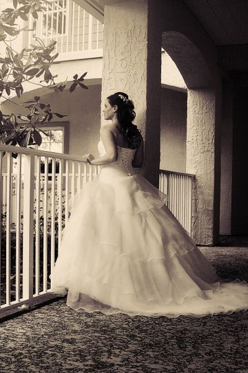Ball gown with long trail