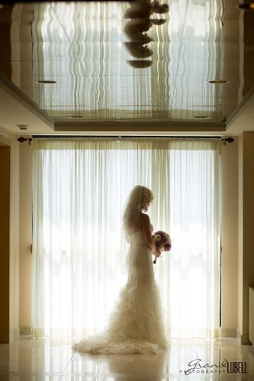 Silhouetted bride