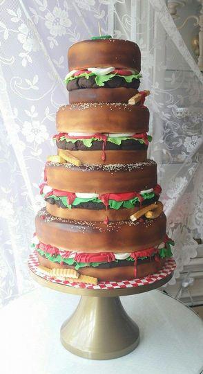 Burger themed wedding cake