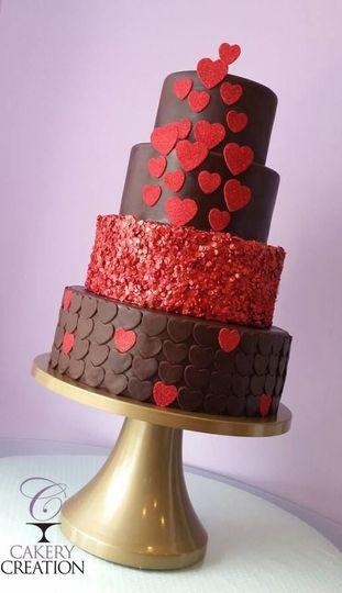Heart themed chocolate cake