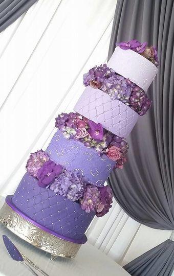 4-tier purple wedding cake