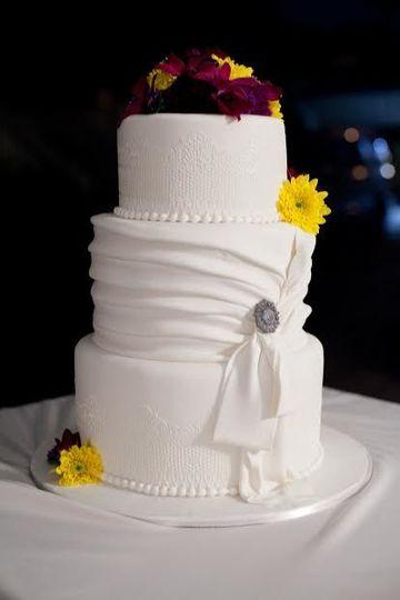 Clean 3-tier white wedding cake