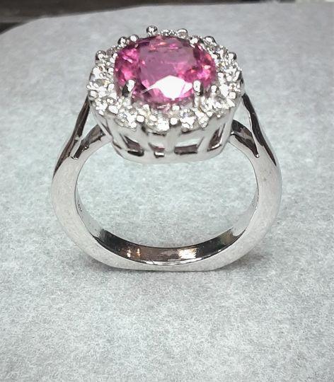Pink tourmaline and diamonds