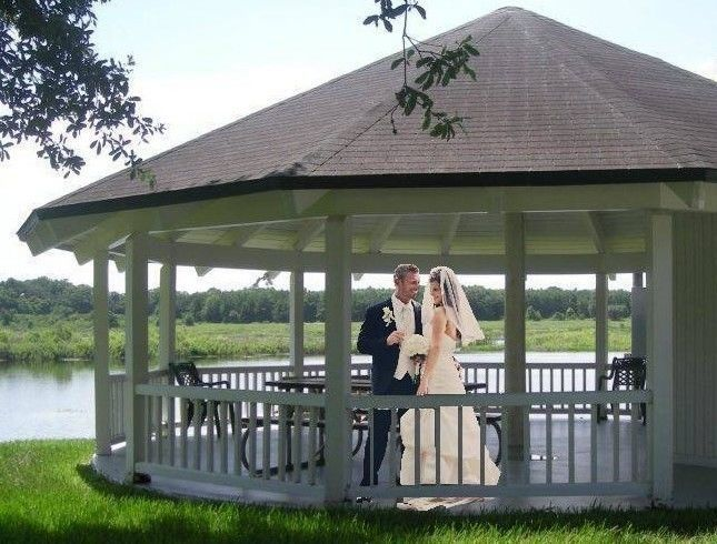 Newlyweds at the gazebo