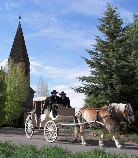wedding carriage Aspen Chapel
