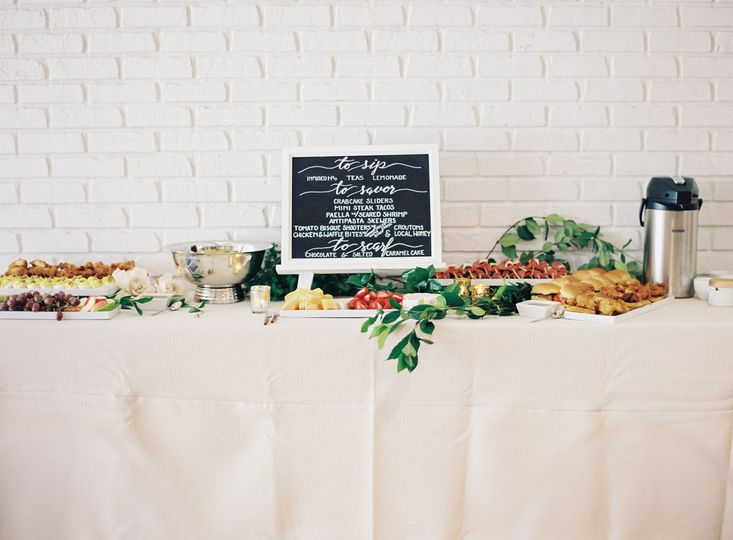 Platted buffet with assorted hors d' oeuvres