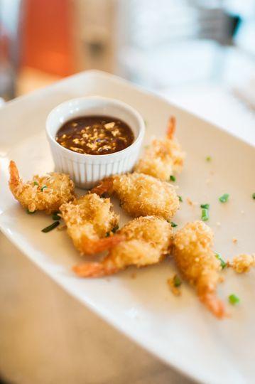 Coconut shrimp hors d' oeuvres