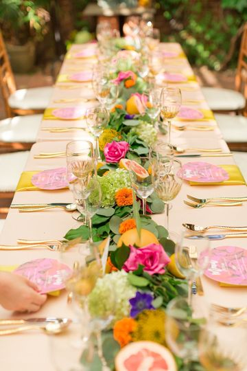 Table setup and floral decor