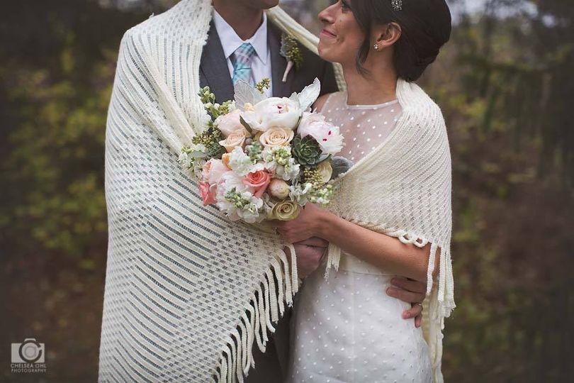 Newlyweds share a shawl