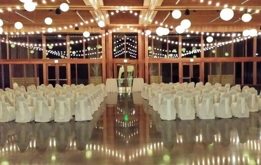 Bistro lights +paper lanterns