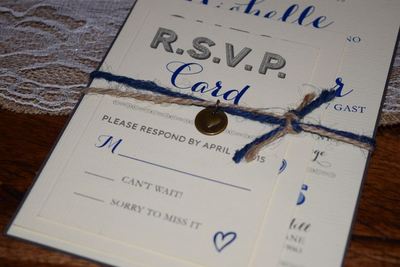 invitation and RSVP card displayed together for a rustic event