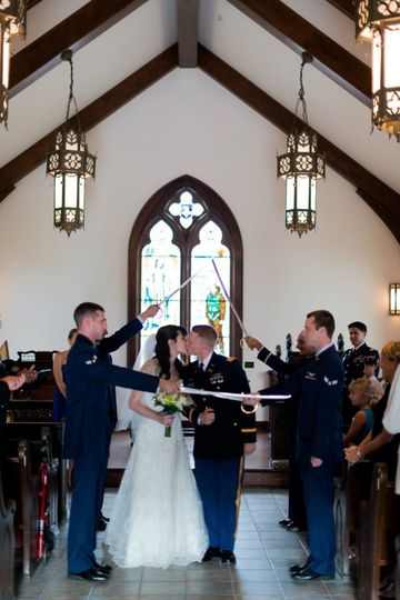 Wedding at the Mighty 8th Ai-rforce museum chapel
