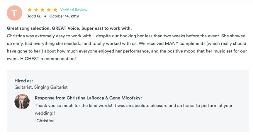 Review from GigSalad