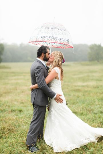 Kiss under the umbrella