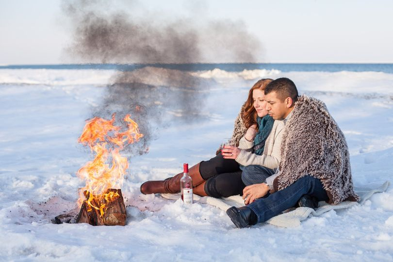 Winter Engagement Session at Light House Beach in Fort Gratiot, MI. A bonfire and some wine…SO...