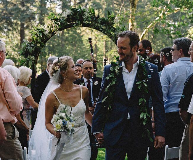 Happy couple exiting!