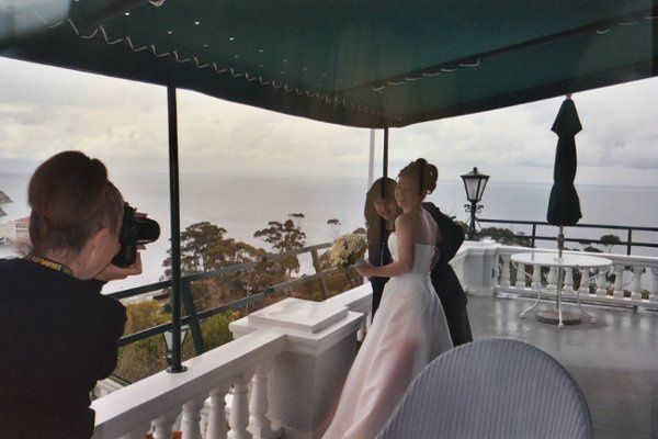 Mary Jean and Kristin at Mount Ada, the Wrigley Estate on Catalina Island