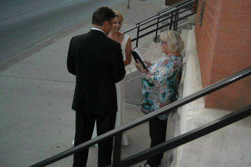 Wedding by the sidewalk