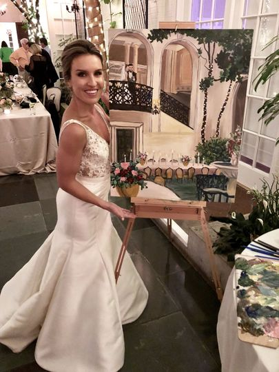 Bride Alyssa poses with her painting!