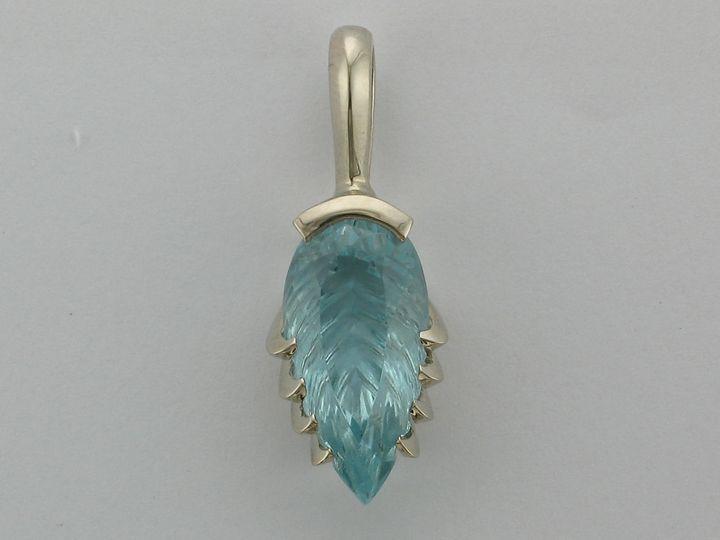 Tmx 1393429505674 14kw 8.92ct Blue Topaz Leaf Pendan Portage wedding jewelry