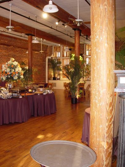 Reception or ceremony area with wooden pillars