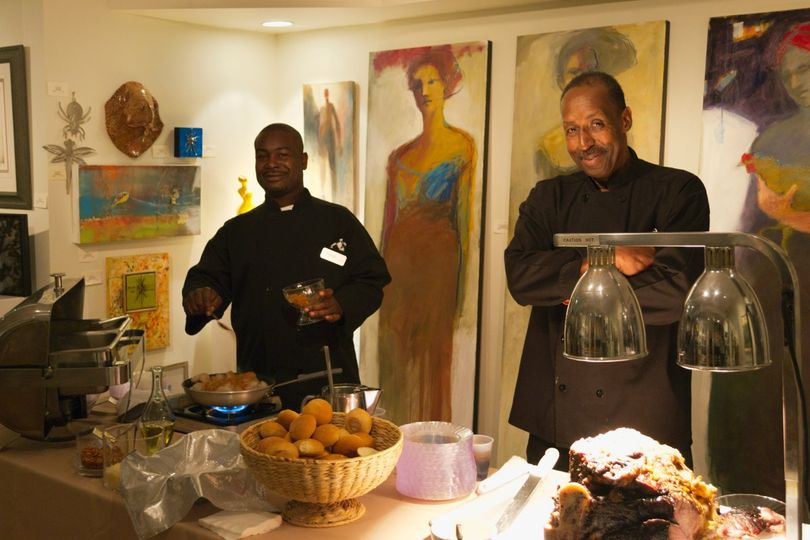 Caterers can set up in our small works gallery for more space in the main reception area.