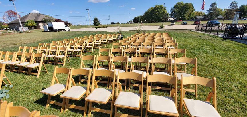 Outdoor wedding wooden chairs
