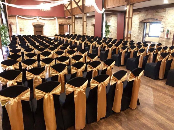 Black and gold ceremony chairs
