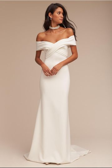 BHLDN Blake Gown		An off-the-shoulder sweetheart neckline gives this stunning ivory crepe gown an...