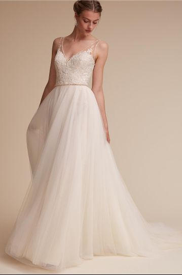 BHLDN Cassia Gown		Trimmed in sparkle, this effortless v-neck gown exudes romance. Intricate...