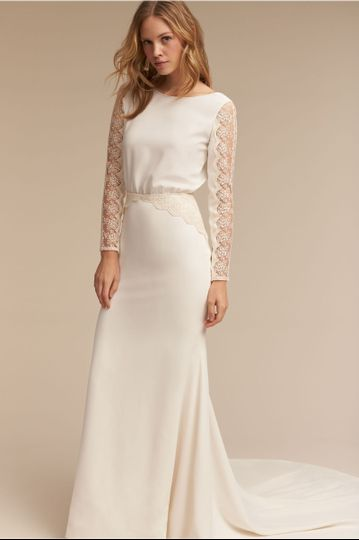 BHLDN Sol Gown		This romantic crepe gown cuts a graceful silhouette with graphic lace sleeves and...