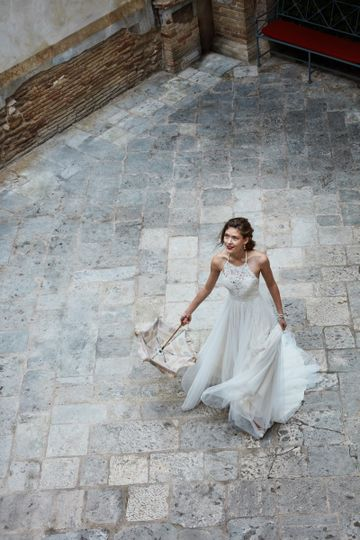 BHLDN Josie Gown		Make an entrance in this romantic lace halter gown. Bohemian, peek-through...