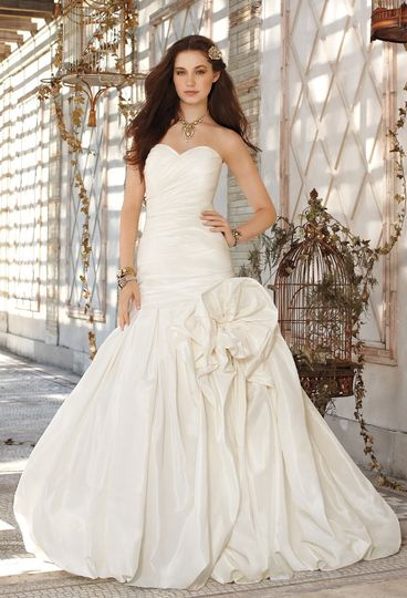 41790-8239W  Strapless shirred taffeta wedding dress with sweetheart neckline and gathered bubble...