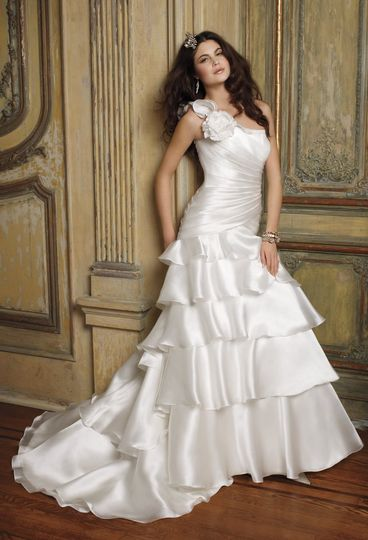 41790-8240W  Tiered satin and organza ruffle wedding dress with flower one shoulder and shirred...