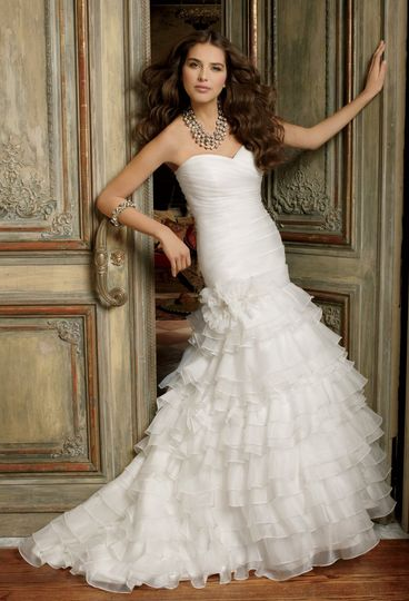 41790-8410W  Textured organza tiered wedding dress with sweetheart neckline and shirred bodice.