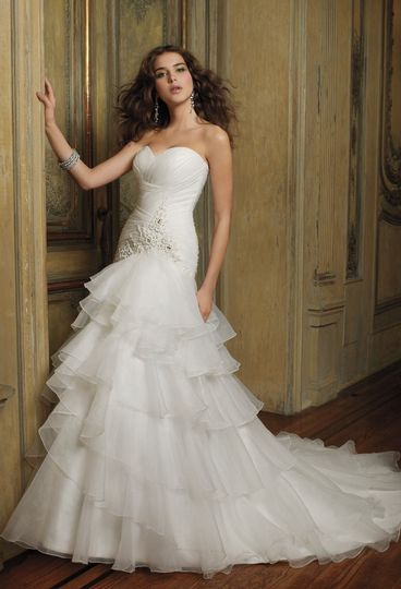 ae9f33ff7eb 41790-8411W Strapless organza wedding dress features a shirred bodice  accented with appliques and a